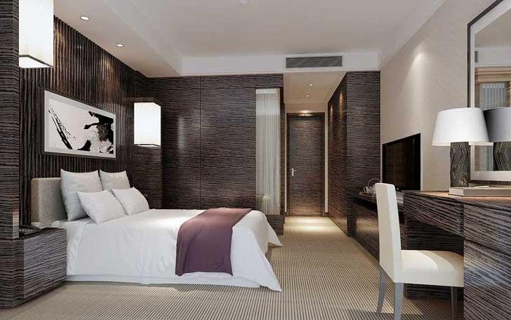 Креативное дизайнерское решение - мебель для спальни и отделка выполнены в идентичном цвете венге.