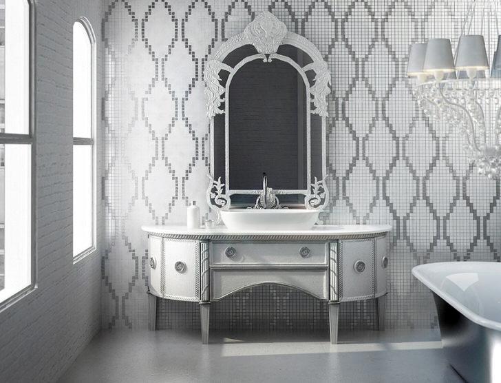 Изящная мебель в стиле ампир для ванной комнаты.