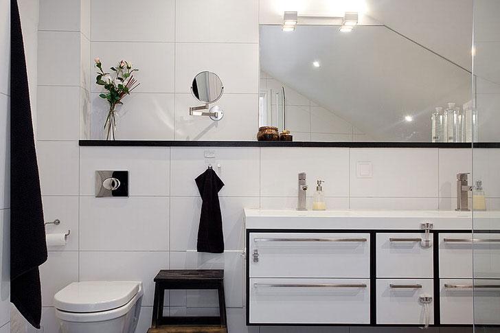 Современный скандинавский стиль не только практичен, но и элегантен. Белая мебель притягивает взгляд своим глянцевым блеском.