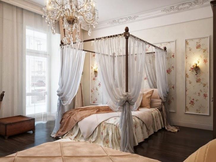 Спальня в стиле барокко декорирована изящным, воздушным балдахинном, который делает отдых еще более расслабляющим.