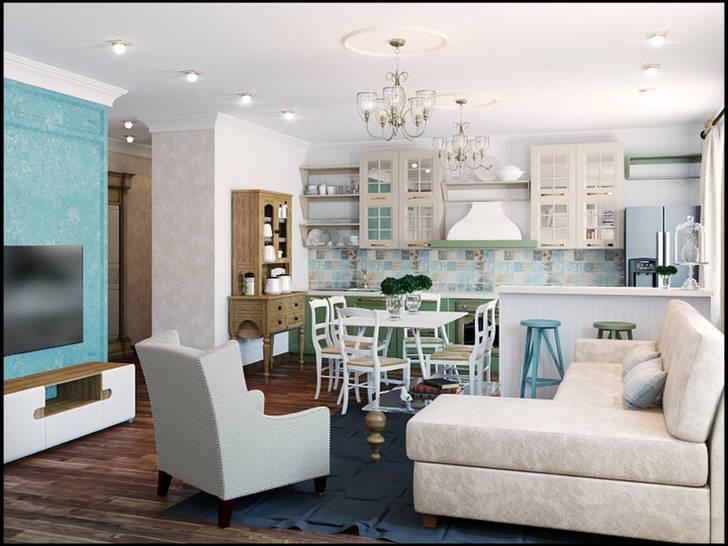 Средиземноморский стиль подходит для оформления квартир-студий. Кухня-гостиная благодаря светлой отделки кажется более просторной.