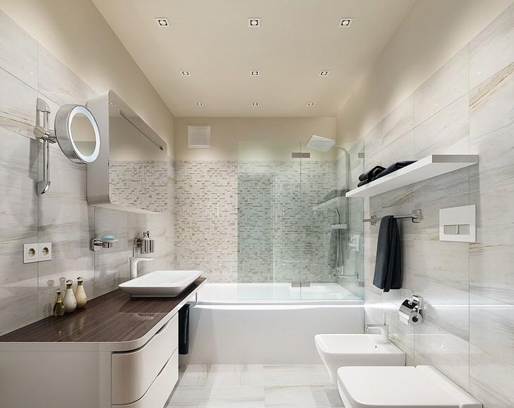 Для создания интерьера ванной в стиле минимализм преимущественно используется белая керамическая сантехника, которая идеально сочетается с любой мебелью и отделкой стен.