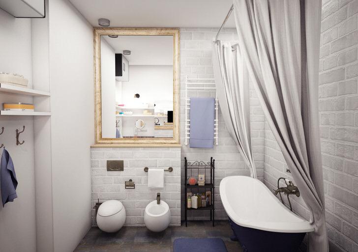 Креативное решение для оформления ванной в скандинавском стиле - отделка стен белым кирпичом.