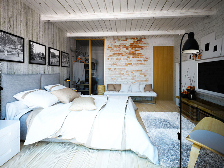 Спальня в стиле шале с отголосками стиля лофт. Креативное смешение стилей делает интерьер эффектным и запоминающимся.