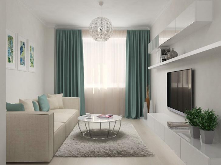 Женский интерьер гостиной в стиле скандинавский минимализм.