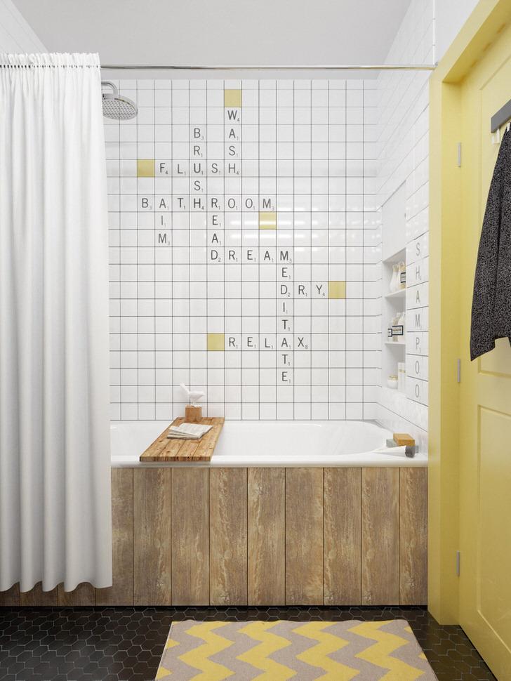 Малогабаритная ванна в скандинавском стиле в квартире в Перми.