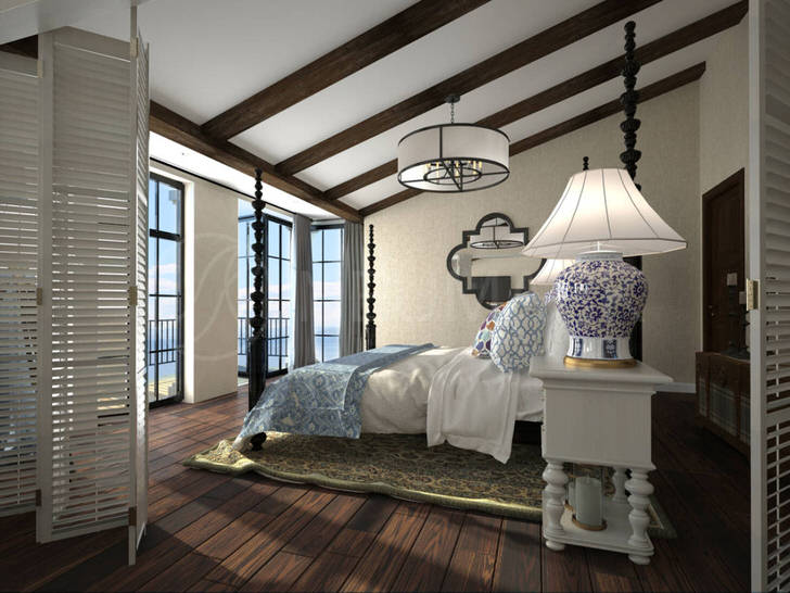 Дизайнерский проект в средиземноморском стиле составлен по заказу творческого деятеля Испании для его особняка на побережье моря.