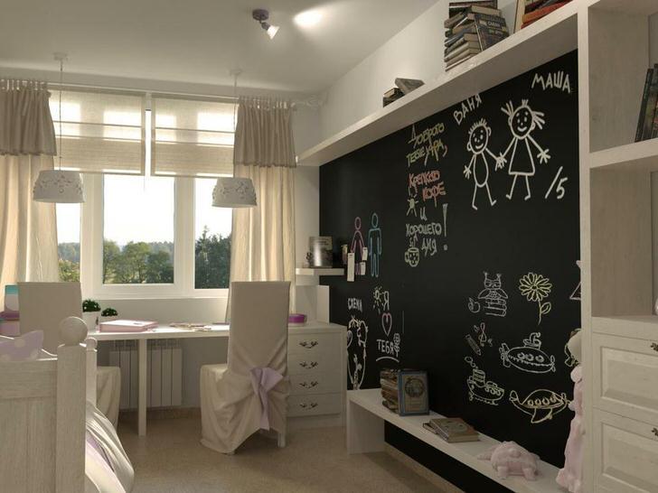 Креативное решение для стиля лофт - стена в виде доски для рисования.