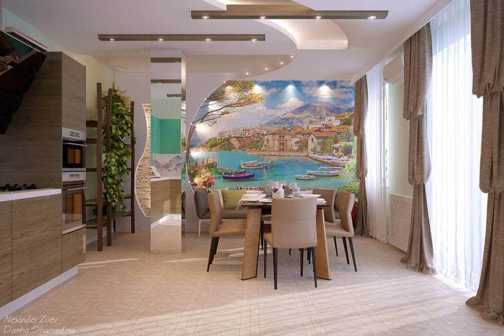 Для декора кухни в средиземноморском стиле использовались обои с фотопечатью. Красочный морской пейзаж прекрасно выглядит в свете правильного освещения.