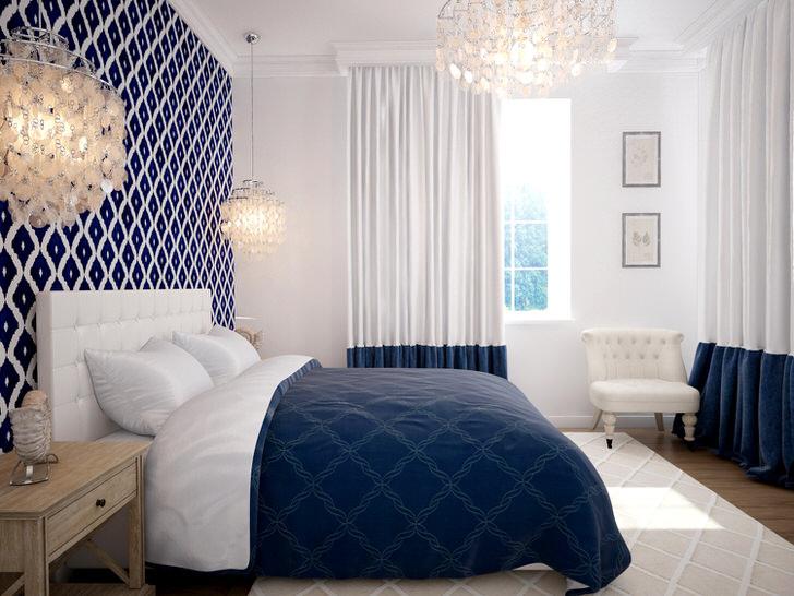 Спальня в средиземноморском стиле отличается сдержанным дизайном. Выгодное сочетание белого и синего цвета навевает морские мотивы и настраивает на отдых.