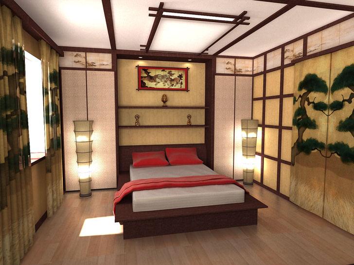 Дизайнерский проект спальни в стиле японский минимализм - работа выпускника московского ВУЗа. Грамотное сочетание всех деталей композиции делает спальню стильной и по-восточному утонченной.