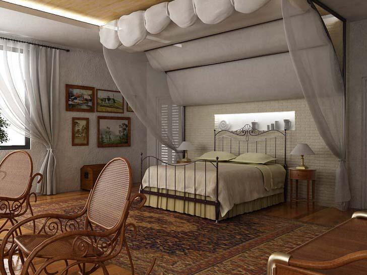 Роскошный балдахин, нависший над кроватью становится ключевым элементом дизайнерской композиции спальни в средиземноморском стиле.