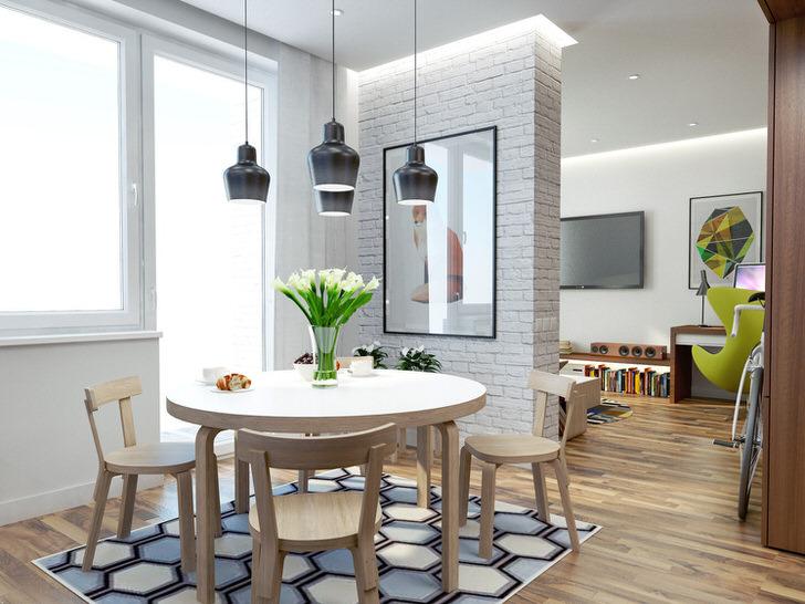 Гарнитур для гостиной из светлого дерева органично вписывается в интерьер, оформленный в скандинавском стиле.