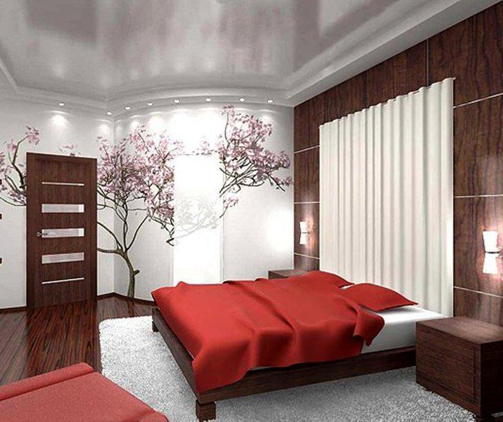Часто для оформления интерьера в стиле японского минимализма используется изображение японской цветущей сакуры.