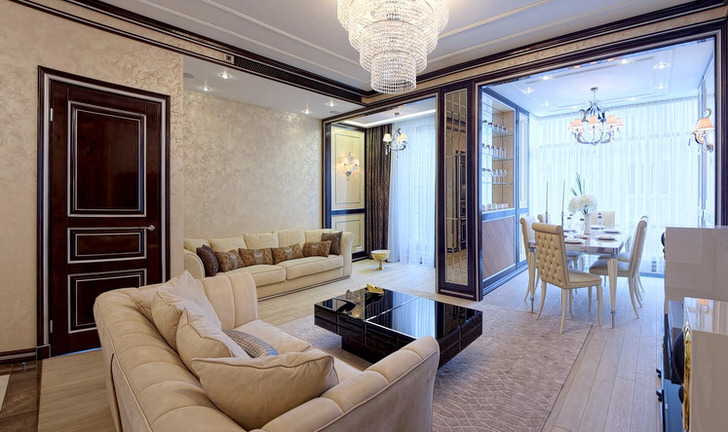 Гостиная в стиле неоклассика, как пример правильно обустроенного интерьера. Изюминкой обстановки можно считать правильно подобранное освещение.