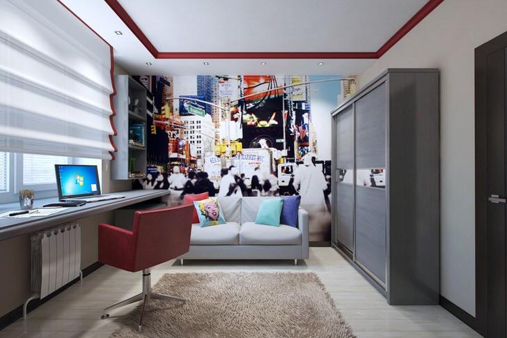 Дизайнерский проект в стиле минимализм для детской комнаты. Креативное, творческое оформление для комнаты мальчика-подростка.