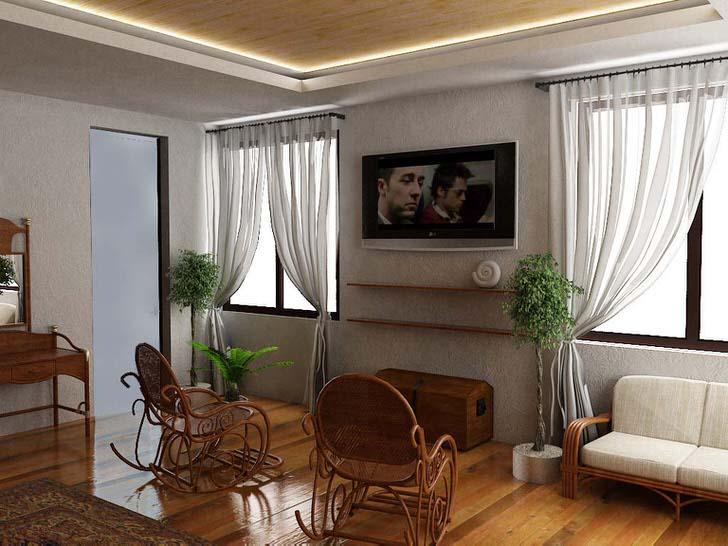 Дизайн спальни в средиземноморском стиле примечателен использованием натуральной отделки и мебели из дорогих пород древесины.
