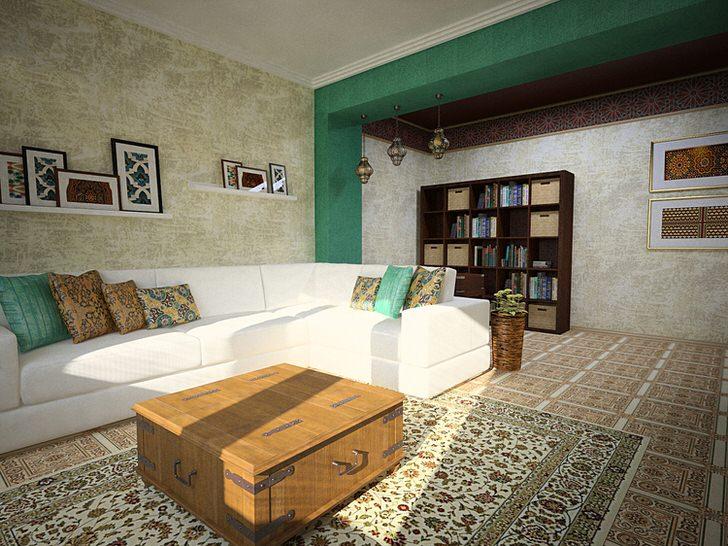Гостиная интересна правильным подбором декоративных элементов в средиземноморском стиле. Полочки с картинами, яркие подушки, живые растения делают атмосферу уютной и легкой.