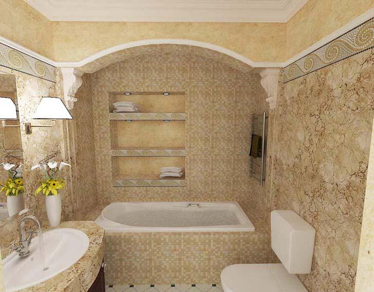 Мелкая мозаика, используемая в качестве плитки, органично сочетается с такими декоративными архитектурными элементами, как лепнина из полиуретана.