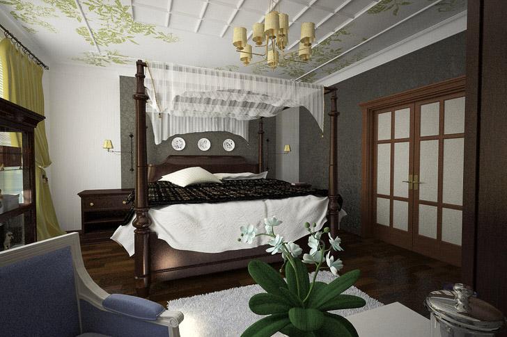 Элементарная конструкция балдахина - привлекательное решение для обустройства спальни.