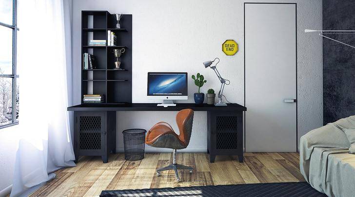 Для стиля лофт правильно подобрана мебель. Темный гарнитур контрастно выделяется на фоне светлой отделки и бледно-коричневого пола.