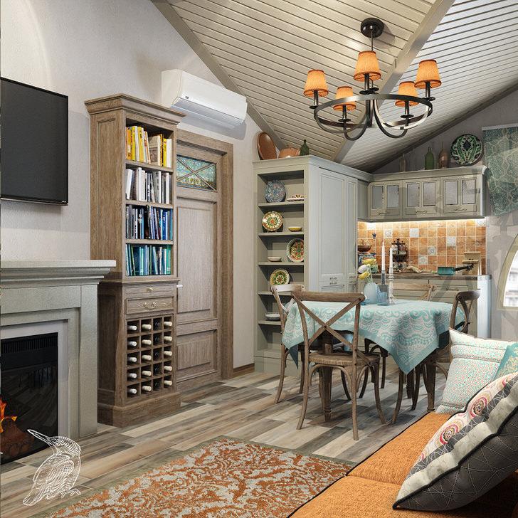 Средиземноморский стиль отдает предпочтение мебели из натуральных материалов. В гостиной, оформленной в средиземноморском стиле, есть свое небольшое винное хранилище.