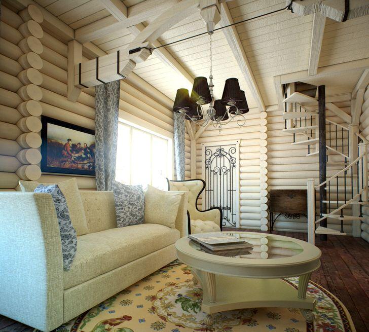 Гостевая комната в современном деревенском стиле украшена ковром с цветочным рисунком и картиной с тематическим изображением.