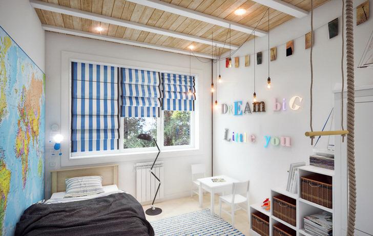 Необычное украшение для стиля лофт - карта во всю стену. Детская комната юного путешественника.