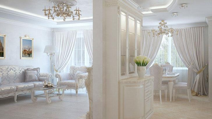 Белоснежное оформление интерьера квартиры-студии организовано в соответствии с требованиями неоклассического стиля.