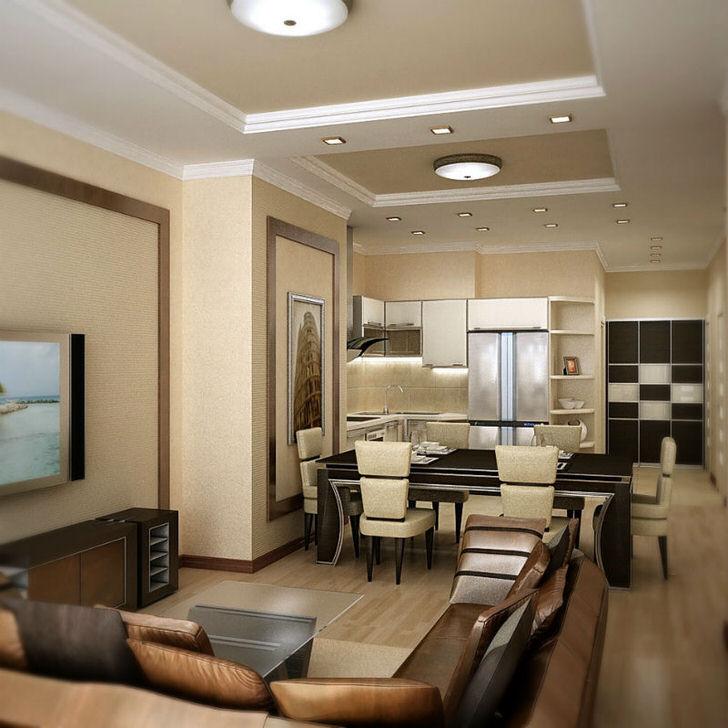 Элегантный интерьер в квартире-студии интересен правильно подобранной мебелью для гостиной из кожи. Спокойное оформление в пастельных бежевых тонах идеально подходит для обустройства семейного дома.