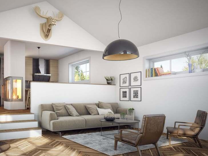 Скандинавский минимализм эффектно смотрится в оформлении гостиной.