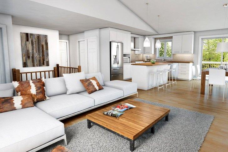 Современный шале в оформлении интерьера загородного дома. Лаконичная, удобная мебель делает атмосферу теплой и комфортной.