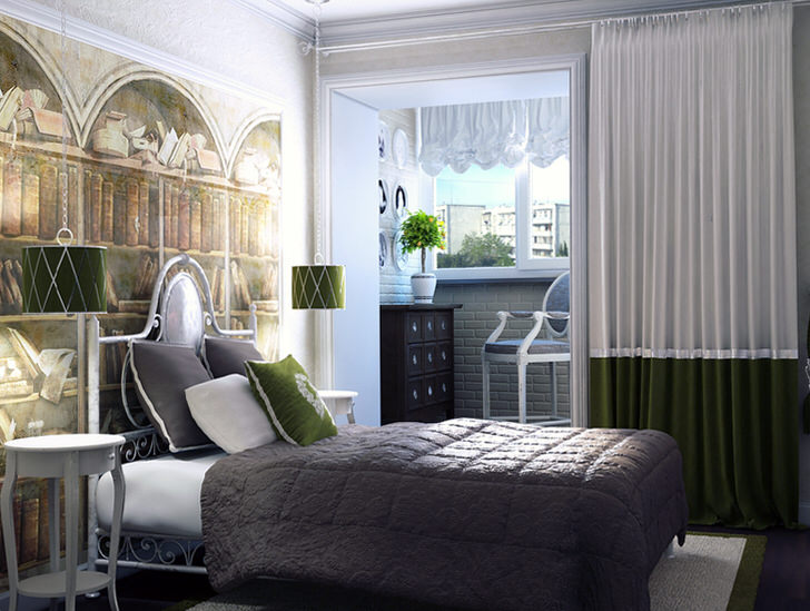 Насыщенный изумрудный цвет освежает интерьер спальни, оформленной в средиземноморском стиле. Яркие цветовые акценты делают комнату более просторной и эксклюзивной.