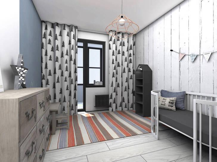 Стиль лофт в интерьере детской комнаты в городской квартире Москвы.