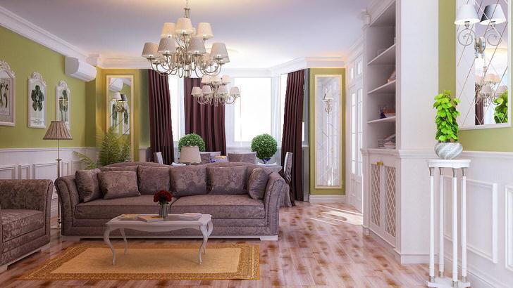 Интересное решение для гостиной в стиле неоклассика - потолочные люстры и торшеры с одинаковыми плафонами подобраны в тонком соответствии в тонком соответствии стилю.