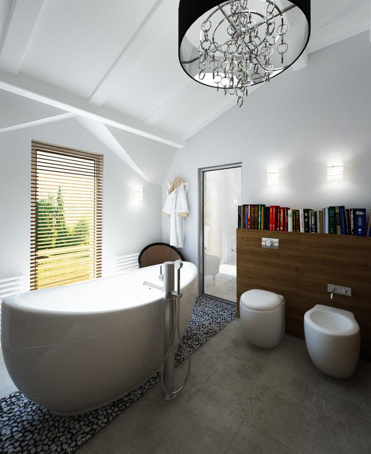 Основным требованием стиля можно назвать достаточное солнечное освещение, поэтому предположительно в ванной в стиле шале должно быть окно.