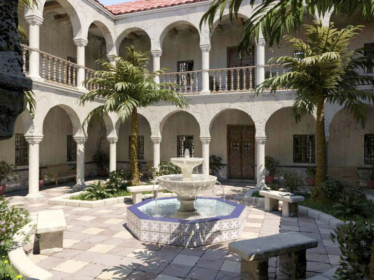 Лучшее украшение для внутреннего двора в средиземноморском стиле - фонтан. Стильный, многоярусный фонтан небольших габаритов в зоне отдыха.