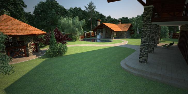 Проект двора загородного дома составлен с учетом высадки английского газона.
