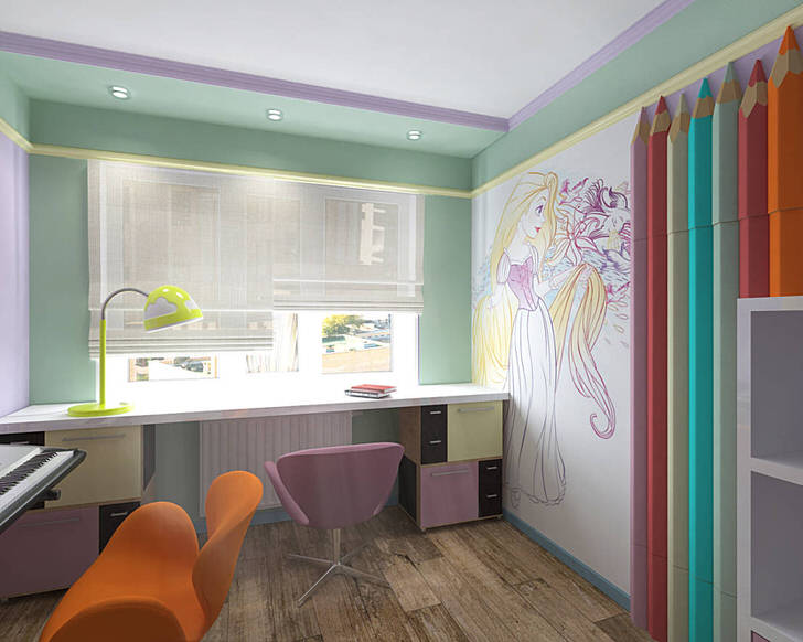 Дизайнерский проект интересен красочным оформлением стен, что не свойственно стилю минимализм. Однако мебель и освещение подобрано именно в минималистическом стиле.