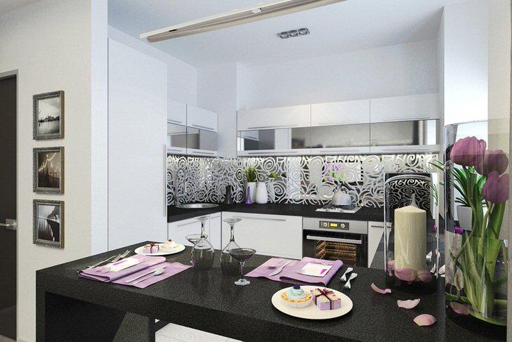 Разделителем между кухней и гостиной