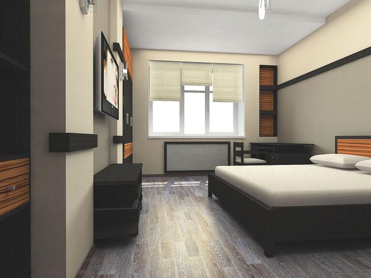 Дизайн гостевой спальни в стиле японский минимализм в небольшом загородном доме.
