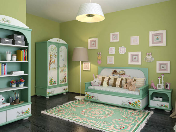 Бледно-зеленый оттенок гармонично смотрится в детской спальне. Дизайнерская концепция для комнаты в скандинавском стиле примечательна правильно подобранной мебелью и освещением.