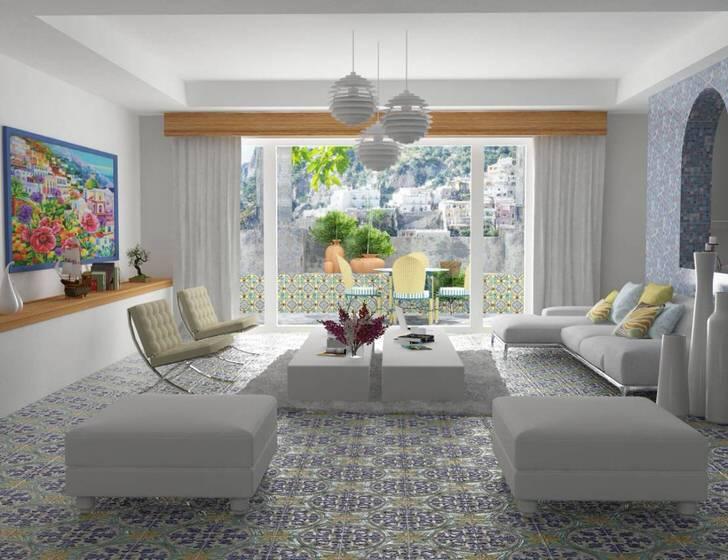 Пример правильно подобранного освещения для гостевой комнаты в средиземноморском стиле.