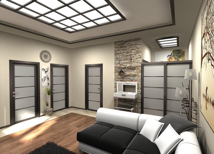 Креативное решение для оформления потолка. Вставка из стекла и дерева становится также элементом системы освещения.