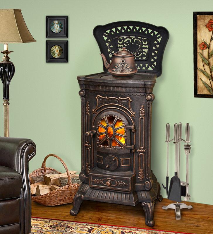 Изящная печь-камин длительного горения выполнена в едином стиле с чайником. Необычное решения для истинного ценителя стиля.