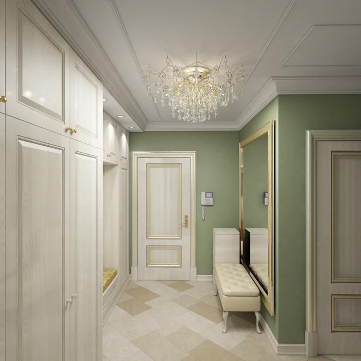 Золотая отделка - интересный декоративный элемент стиля арт деко. Прихожая светла и просторна за счет выбора правильной меблировки.