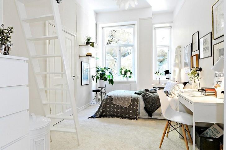Мебель для спальни в скандинавском стиле подобрана сдержанная, мобильная и функциональная. Изящный внешний вид полноценно дополняет общую дизайнерскую концепцию.