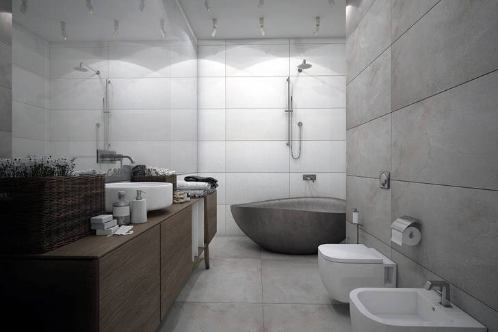 Ванная комната в стиле минимализм напоминает интерьеры спа-салонов. Подобное оформление помогает расслабиться, настроиться на волну отдыха, избавляет от стрессов.