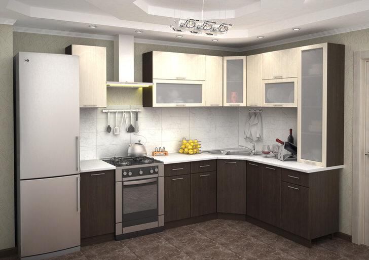 L-образная кухня с множеством навесных шкафов - идеальное решение для любой практичной хозяйки.