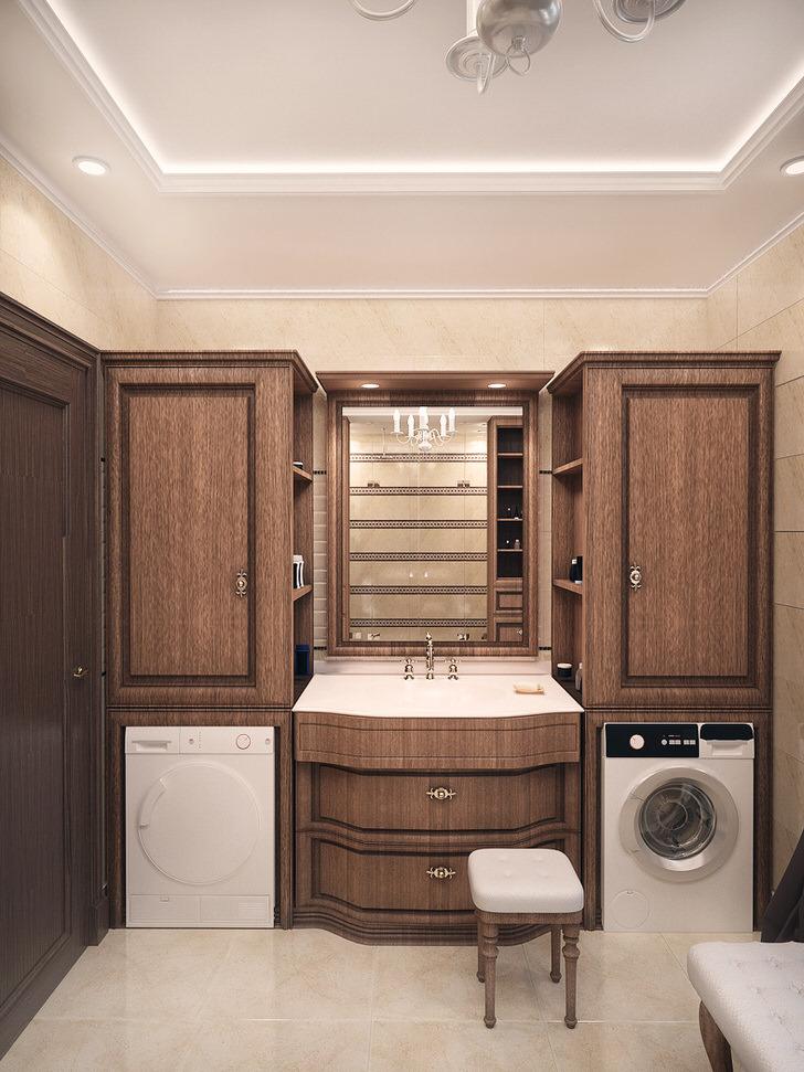 Для ванной комнаты в стиле шале была правильно подобрана меблировка. Изысканное оформление позволяет функционально разместить электротехнику.